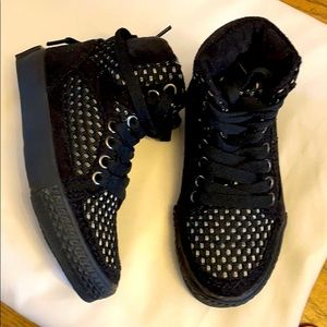 AMIANA BLACK AND WHITE HIGH TOP SNEAKERS. …